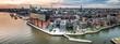 canvas print picture - Luftaufnahme der Hafencity in Hamburg bei Sonnenuntergang