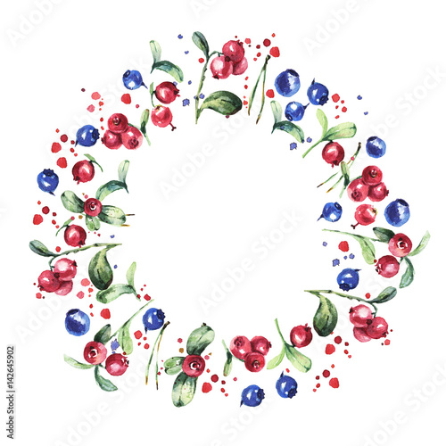 Hand drawn red berries, blueberries round frame. Round wreath isolated on white background. Watercolor decor for invitations, greeting cards, posters