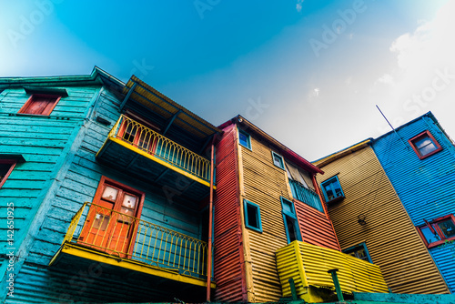 Photo Stands Buenos Aires Traditional colorful houses on Caminito street in La Boca neighborhood, Buenos Aires