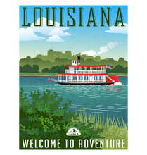 Louisiana Travel Poster Or Sti...