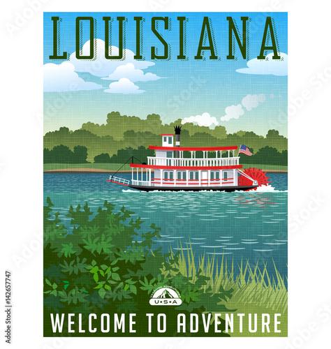 Photo Louisiana travel poster or sticker