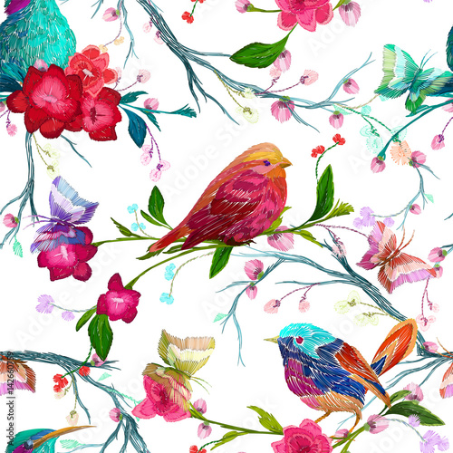obraz dibond Vintage Seamless pattern: bird, butterfly and flower, leaf, branch, isolated on background. Imitation of embroidery, watercolor. Hand drawn vector illustration, separated editable elements.