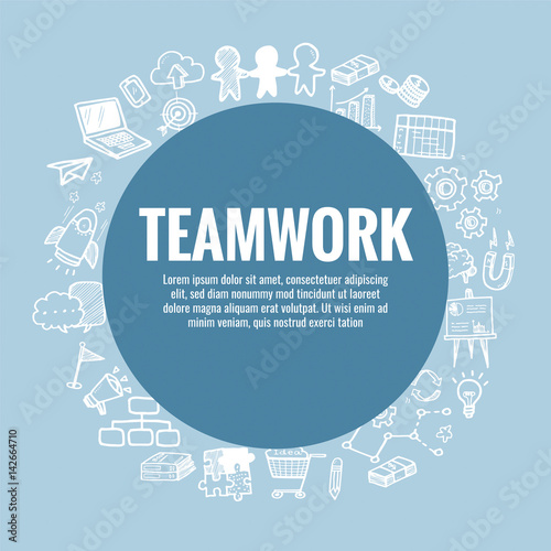 vector template for teamwork theme with hand drawn doodles business