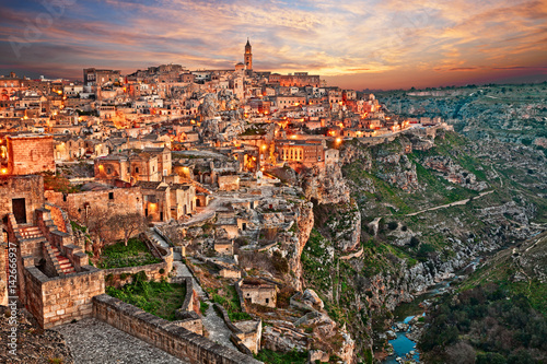 Aluminium Prints Salmon Matera, Basilicata, Italy: landscape at dawn of the old town