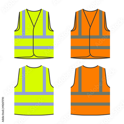 Fotomural reflective safety vest yellow orange vector
