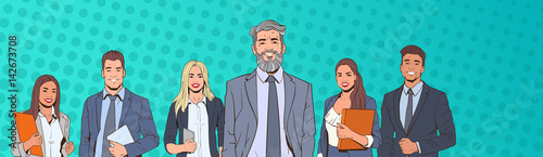 Fotografie, Obraz  Successful Business Man And Woman Over Pop Art Colorful Retro Style Background B