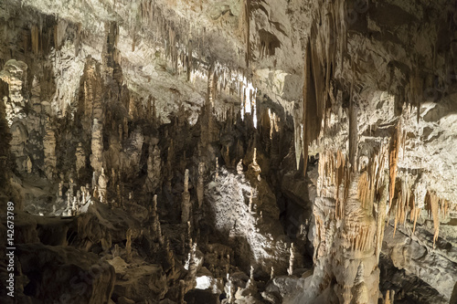 Cave stalactites and stalagmites formation
