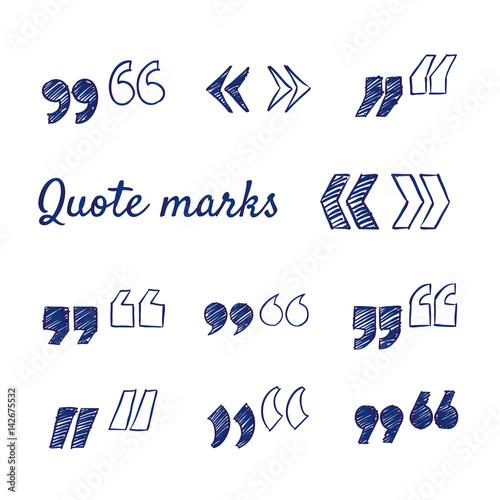 Fotografía  Doodle set of quote marks - quotes icon set, hand-drawn
