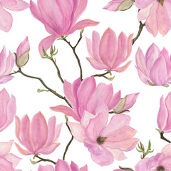 Watercolor painting seamless pattern with magnolia flowers
