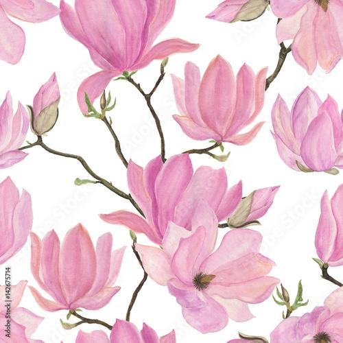 Obrazy Magnolie  akwarela-malarstwo-wzor-z-kwiatami-magnolii