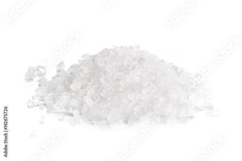 Poster Aromatische coarse sea salt on white background