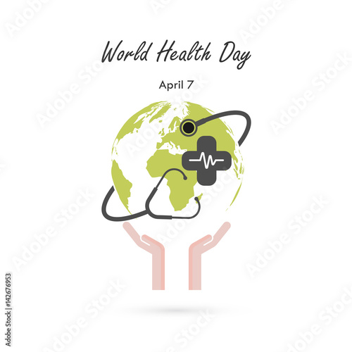 Globe Signhuman Hand And Stethoscope Vector Logo Design TemplateWorld Health Day Icon