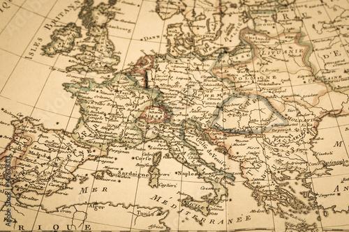 Zdjęcie XXL Antyczna stara mapa Europa