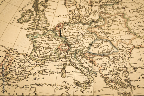Canvas Print アンティークの古地図 ヨーロッパ
