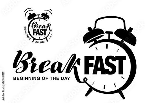 Hand drawn lettering on the topic breakfast Wallpaper Mural