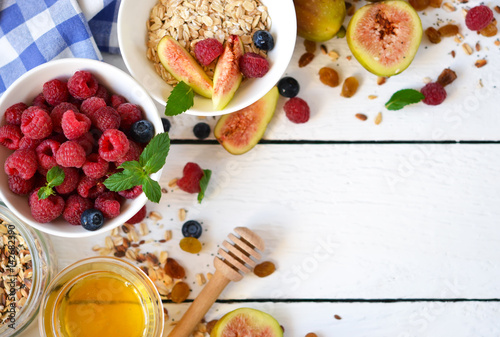 Good Morning Granola With Honey Berries And Fruits White Wooden