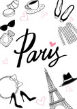 Bicycle_paris7/Paris. Vector hand drawn illustration with Eiffel tower. Fashionable accessories.