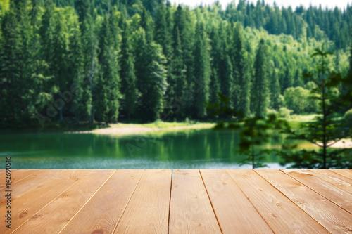 Poster Rivière de la forêt Beautiful landscape with mountains and river