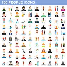 100 People Icons Set, Flat Style
