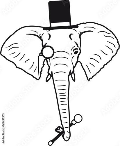 Sir Herr Gentlemen Zylinder Hut Monokel Brille Elefant Kopf Gesicht