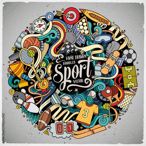 kreskowek-doodles-sporta-sliczna-reka-rysujaca-ilustracja