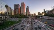time lapse of Los Angeles city freeway traffic at sunset