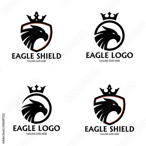eagle logo design template eagle shield logo design concept vector