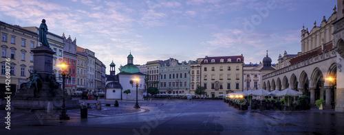 Fototapeta Panorama of Krakow historic city center at night, Poland obraz