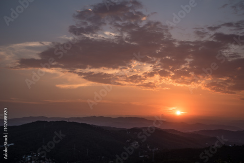 Barcelona Sunset from the Mountains