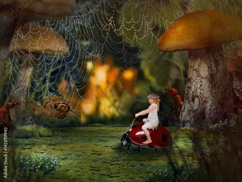 Fototapeta Mała dziewczynka w makrokosmosie. Dziecko skurczyło się do rozmiarów owadów. Bajka dla dzieci