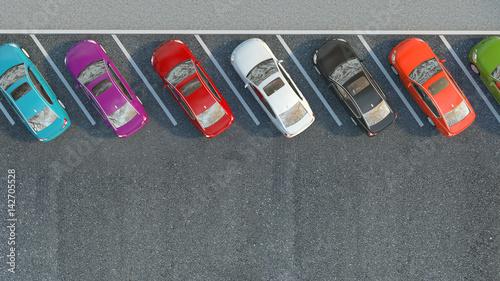 Fototapety, obrazy: Many cars parked. 3d illustration