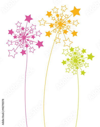 Abstract background with color dandelions, postcard