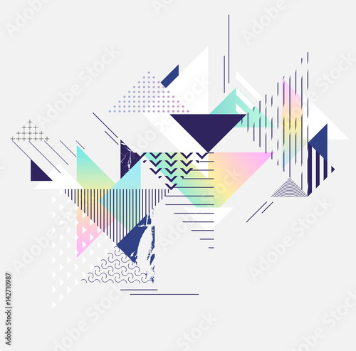 Abstract colorful geometric composition - 142710987