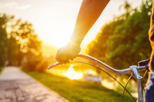 Hands Holding Handlebar Of A Bicycle At The Summer Sunset.