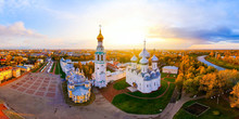 Aerial View Of An Old Russian City Vologda At Sunset. Orthodox Church At Beautiful Autumn