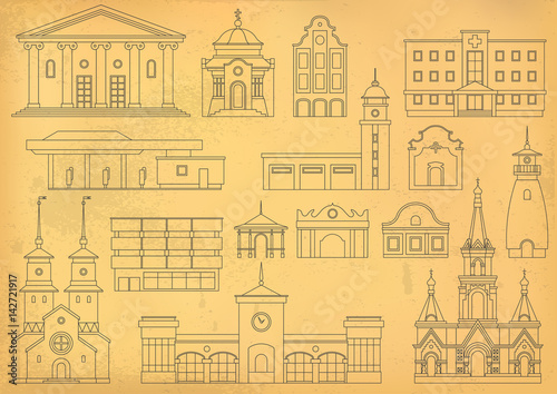 Vector set of thin line city buildings to create and generate a ...