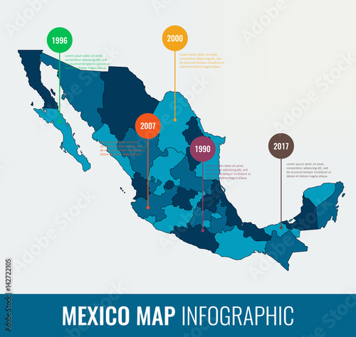 Mexico map infographic template Wallpaper Mural