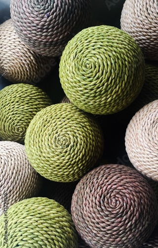 Fotografering  A collection of natural rattan woven balls