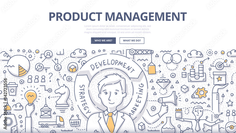 Fototapety, obrazy: Product Management Doodle Concept
