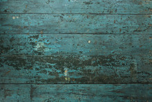 Old Turquoise Rustic Wood Planks Texture Background.