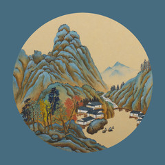 Fototapeta Orientalny Blue green mountains and houses