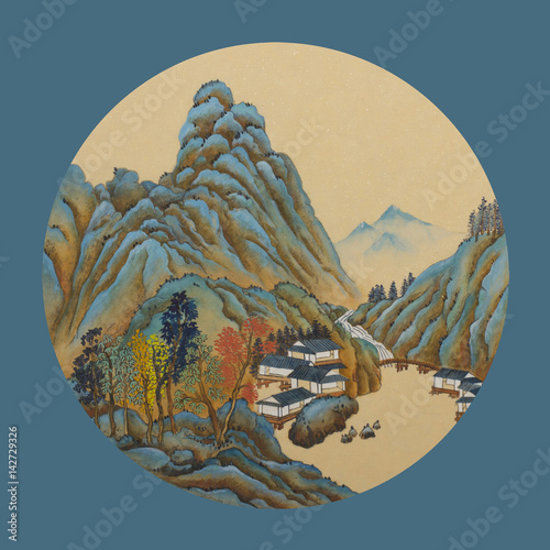 Blue green mountains and houses - 142729326