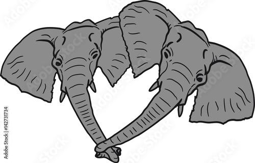 Kopf Gesichter 2 Freunde Team Paar Parchen Liebe Verliebt Elefant