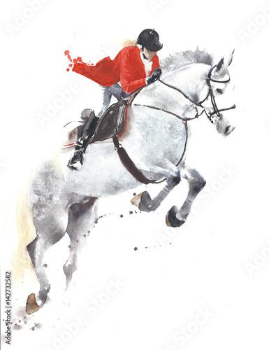 Końska doskakiwanie sporta dżokeja akwareli obrazu ilustracja odizolowywająca na białym tle