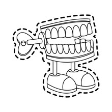 Chattering Teeth Wind Up Toy Icon Image Vector Illustration Design
