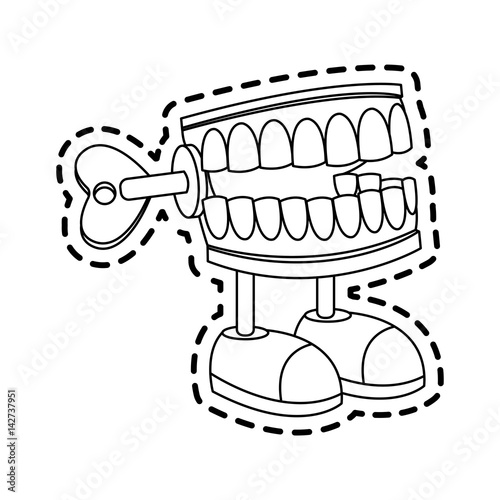 Fotografija chattering teeth wind up toy icon image vector illustration design