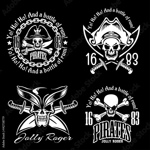 Fotografia Pirates emblem set with pirate spirit flying dutch pirate bay pirates adventures