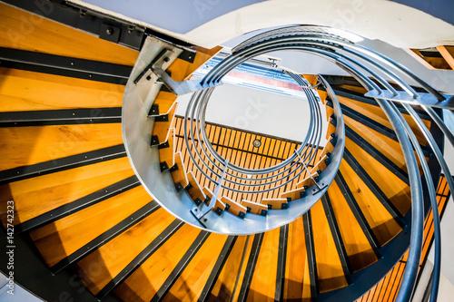 Photo Stands Stairs Escalier en colimaçon dans un immeuble du quartier de la Part-Dieu à Lyon