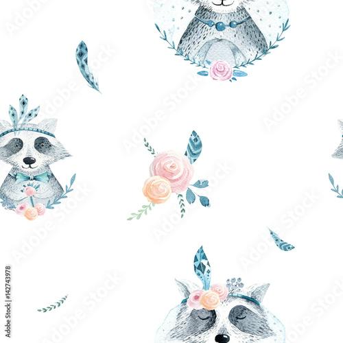 akwarela-boho-kwiatowy-wzor-z