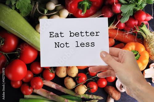 Motivation Inspirational quote Eat better Not less Canvas Print